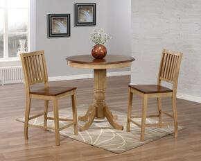 "Brook Collection DLU-BR3636CB-B60-PW3PC 3 Piece 36"" Round Pub Table Set with Slat Back Stools"