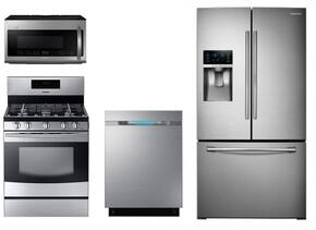 "4 Piece Kitchen Package With NX58F5500SS 30"" Gas Freestanding Range, ME21H9900AS 30"" Over the Range Microwave, RF28HDEDBSR 36"" French Door Refrigerator and DW80J7550US 24"" Built In Dishwasher"