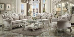 521056PC Versailles 6 PC Living Room Set with Sofa, Loveseat, Chair, Coffee Table and 2 End Tables in Bone White
