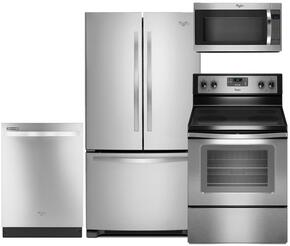 "4-Piece Stainless Steel Kitchen Package with WRF535SMBM 36"" Freestanding French Door Refrigerator, WFE515S0ES 30"" Freestanding Electric Range, WDT720PADM 24"" Fully Integrated Dishwasher and WMH53520CS 30"" Over-the-Range Microwave"