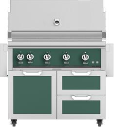 "42"" Freestanding Liquid Propane Grill with GCR42GR Tower Grill Cart with Double Drawer and Door Combo, in Grove Green"