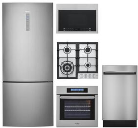 "5-Piece Stainless Steel Kitchen Package with HRB15N3BGS 28"" Bottom Freezer Refrigerator, HCC2230AGS 24"" Natural Gas Cooktop, HCW2360AES 24"" Single Wall Oven, HMV1472BHS 24"" Over the Range Microwave, and DWL7075MSS 24"" Dishwasher"