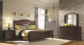 203301Q4PC Salisbury Queen Size Panel Bed with Dresser, Mirror and Nightstand in Cherry Finish