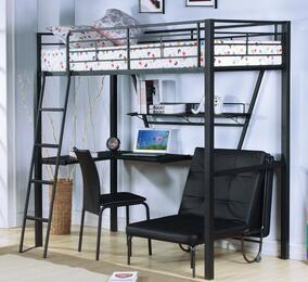 Senon 37275BFBC 3 PC Bedroom Set with Loft Bed + Folding Bed + Chair in Silver and Black Finish