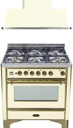 "2-Piece Antique White Kitchen Package with UM906DMPAY 36"" Freestanding Dual Fuel Range (Oiled Bronze Trim, 6 Burners, Timer) and UAM90A 36"" Wall Mount Range Hood"