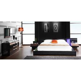 VGWCALASKA-BLKCK5PCSET Alaska Collection 5 Piece Bedroom Set With California King Size Platform Bed + 2 Nightstands + Dresser + Mirror: Black