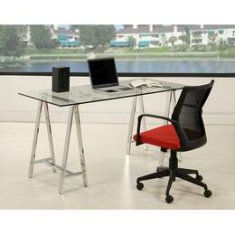 "Bozano ES-517-2862-BZ-164 Office Set with Estonia 62"" Long Office Desk and Bozano Office Chair with Red Seat"