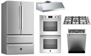 """5-Piece Stainless Steel Kitchen Package With REF36X 36"""" French Door Refrigerator, QB36500X 36""""  Gas Cooktop, PROFD30XV 30"""" Electric Double Wall Oven, DW24XV 24"""" Built In Dishwasher and KU36PRO1XV 36"""" Hood"""