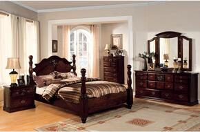 Tuscan II Collection CM7571KBDMCN 5-Piece Bedroom Set with King Bed, Dresser, Mirror, Chest and Nightstand in  Glossy Dark Pine Finish