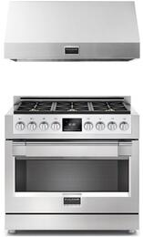 "2 Piece Kitchen Package With F6PDF366S1 36"" Dual Fuel Freestanding Range and F6PH36S1 36"" Professional Hood In Stainless Steel"