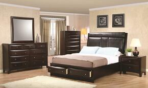 Phoenix 200419KWSET 5 PC Bedroom Set with California King Size Platform Bed + Dresser + Mirror + Chest + Nightstand in Cappuccino Finish