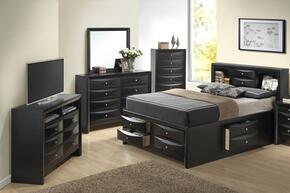 G1500GTSB3CHDMTV 5 Piece Set including Twin Size Bed, Chest, Dresser, Mirror and Media Chest in Black