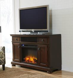 Audrey Collection EN-160-90F10 2-Piece Set with TV Stand and Fireplace Insert in Rustic Brown