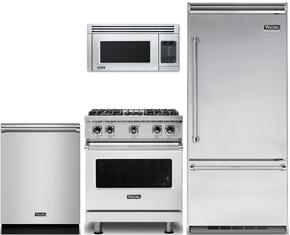 "4-Piece Stainless Steel Kitchen Package with VCBB5363ERSS 36"" Bottom Freezer Refrigerator, VGR5304BSSLP 30"" Gas Range, VMOR205SS 30"" Over the Range Microwave, and VDW302SS 24"" Fully Integrated Dishwasher"