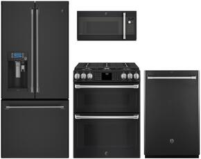"4-Piece Black Slate Kitchen Package with CYE22UELDS 36"" French Door Refrigerator, CGS995EELDS 30"" Slide In Gas Range, CVM9179ELDS 30"" Over the Range Microwave, and CDT865SMJDS 24"" Fully Integrated Dishwasher"