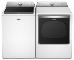 "Bravos White Top Load Laundry Pair with MVWB835DW 27"" Washer and MGDB835DW 29"" Gas Dryer"