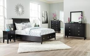 Braflin King Bedroom Set with Storage Panel Bed, Mirror, Dresser, 2 Night Stands and Chest in Black