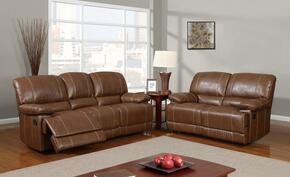 U9963-Rodeo Brown-SLR 3 Piece Bonded Leather Reclining Livingroom Set in Brown, Sofa + Loveseat + Chair