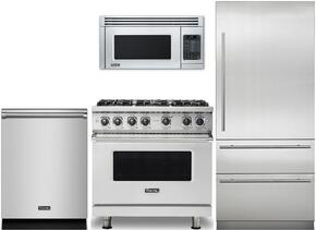 "4-Piece Stainless Steel Kitchen Package with VCRB5303LSS 36"" All Refrigerator, VGR5366BSSLP 36"" Gas Range, VMOS201SS Countertop Microwave with 30"" Trim Kit, and VDW302SS 24"" Fully Integrated Dishwasher"