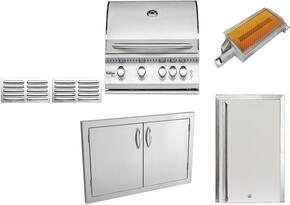 """8-Piece Stainless Steel Outdoor Package with SIZ32LP 32"""" Liquid Propane Grill, Outdoor Refrigerator, Side Burner, Double Access Door, Grill Cover, Trim Kit, and Island Vents"""