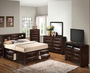 G1525GFSB3DMCHTV2 5 Piece Set including  Full Size Bed, Dresser, Mirror, Chest and Media Chest  in Cappuccino