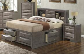 G1505GKSB3CHN 3 Piece Set including  King Size Bed, Chest and Nightstand in Gray