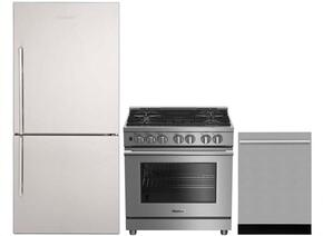 "3-Piece Kitchen Package with BRFB1812SSN 30"" Bottom Freezer Refrigerator, BDFP34550SS 30"" Freestanding Dual Fuel Range, and a free DWT55100SS 24"" Built In Fully Integrated Dishwasher in Stainless Steel"