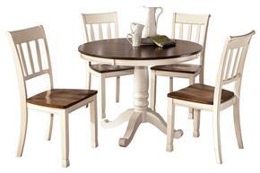 D5831502 Whitesburg Round Dining Table with Brown Color Table Top, Whtie Color Table Base, Four Side Chairs, Birch Veneers and Hardwood Solids in Two Tone