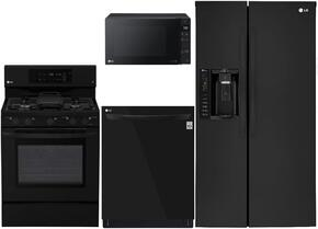 "4-Piece Kitchen Package with LSXS26326B 33"" Side by Side Refrigerator, LRG3193SB 30"" Freestanding Gas Range, LMV1683SB 30"" Over the Range Microwave, and LDP6797BB 24"" Built In Fully Integrated Dishwasher in Black"
