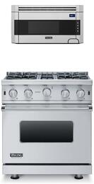 """3-Piece Stainless Steel Kitchen Package with VGIC53014BSS 30"""" Freestanding Gas Range, and VMOS201SS 24"""" Countertop Microwave with VMTK272SS 27"""" Trim Kit"""