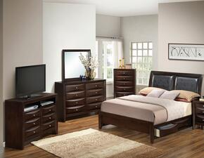 G1525DDQSB2DMCHTV2 5 Piece Set including  Queen Size Bed, Dresser, Mirror, Chest and Media Chest  in Cappuccino