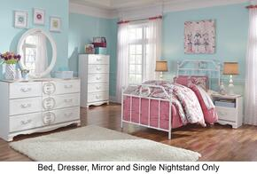 Korabella Full Bedroom Set with Metal Bed, Dresser, Mirror and Night Stand in White Finish