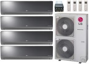 LMU480HVKIT110 Quad Zone Mini Split Air Conditioner System with 48000 BTU Cooling Capacity, 4 Indoor Units, Outdoor Unit, and 4-Port Distribution Box