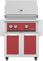 "30"" Freestanding Natural Gas Grill with GCD30RD Tower Grill Cart with Two Doors, in Matador Red"