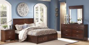 00060ESBDMN Kensington 4 Piece Bedroom Set with King Storage Bed, Dresser, Mirror and Nightstand, in Burnished Cherry