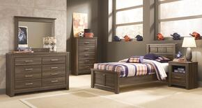 Juararo Twin Bedroom Set with Panel Bed, Dresser, Mirror, Chest and Nightstand in Aged Brown