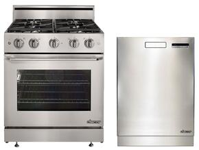 "Distinctive 2-Piece Stainless Steel Kitchen Package with DR30GSNG 30"" Freestanding Gas Range with Natural Gas and DDW24S 24"" Full Console Dishwasher"