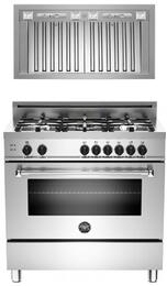 "Bertazzoni Stainless Steel 2-Piece Kitchen Package With MAS365GASXE 36"" Gas Freestanding Range with 5 Burners and Free KIN36PROX 36"" Cabinet Insert Hood"