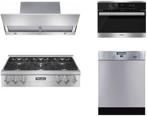 "4-Piece Stainless Steel Kitchen Package with KMR1134LP 36"" Liquid Propane Rangetop, DA3690 36"" Under Cabinet Hood, 22620054USA 24"" Single Wall Oven, and G4228SCUSS 24"" Full Console Dishwasher"
