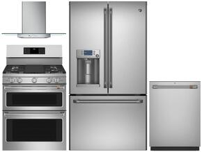 "4-Piece Stainless Steel Kitchen Package with CFE28TSHSS 36"" French Door Refrigerator, CGS995SELSS 30"" Slide In Dual Fuel Range, PVW7301SJSS 30"" Wall Mount Hood, and CDT835SSJSS 24"" Fully Integrated Dishwasher"