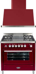 2-Piece Burgundy Kitchen Package with UMT90FDMPRB 36