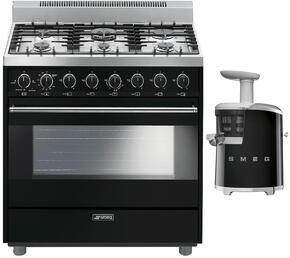 "2-Piece Black Kitchen Package with C36GGNU 36"" Freestanding Gas Range and SJF01BLUS 7"" Slow Juicer"