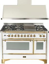 "2-Piece True White Kitchen Package with UM120FDMPB 48"" Freestanding Dual Fuel Range (Brass Trim, 6 Burners, Griddle) and UAM120B 48"" Wall Mount Range Hood"