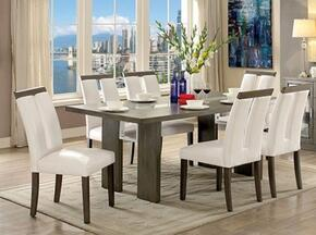 Luminar I Collection CM3559GYT6SC 7-Piece Dining Room Set with Rectangular Table and 6 Side Chairs in Grey Finish