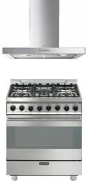 "Smeg Stainless Steel 2-Piece Kitchen Package With C30GGXU1 30"" Gas Freestanding Range with 5 Burners and KSM30XU 30"" Wall Mount Ventilation Hood"
