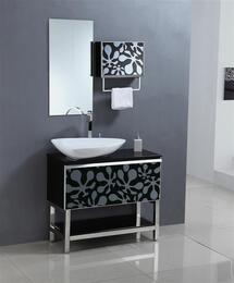 WA3153KI3T 35.5 Sink Chest - Solid Wood - No Faucet in Black / White with Wall Cabinet and Mirror