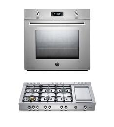 "Professional 2-Piece Stainless Steel Kitchen Package with F30PROXE 30"" Single Electric Wall Oven and CB486G00X 48"" Gas Rangetop"