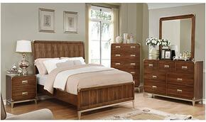 Tychus Collection CM7559CKBDMCN 5-Piece Bedroom Set with California King Bed, Dresser, Mirror, Chest and Nightstand in Dark Oak Finish