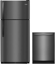 "2-Piece Black Stainless Steel Kitchen Package with FFTR1821TD 30"" Top Freezer Refrigerator and FFID2426TD 24"" Fully Integrated Dishwasher"