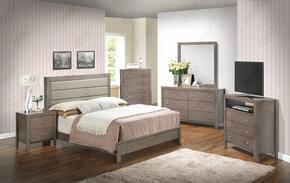 G2405ATBSET 6 PC Bedroom Set with Twin Size Panel Bed + Dresser + Mirror + Chest + Nightstand + Media Chest in Grey Finish
